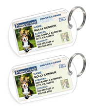 Pennsylvania Driver License Custom Pet ID Tags - Dog or Cat ID Tag - Personalized - US Company