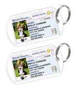 Rhode Island Driver License Custom Pet ID Tags - Dog or Cat ID Tag - Personalized - US Company