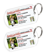 South Carolina Driver License Custom Pet ID Tags - Dog or Cat ID Tag - Personalized - US Company