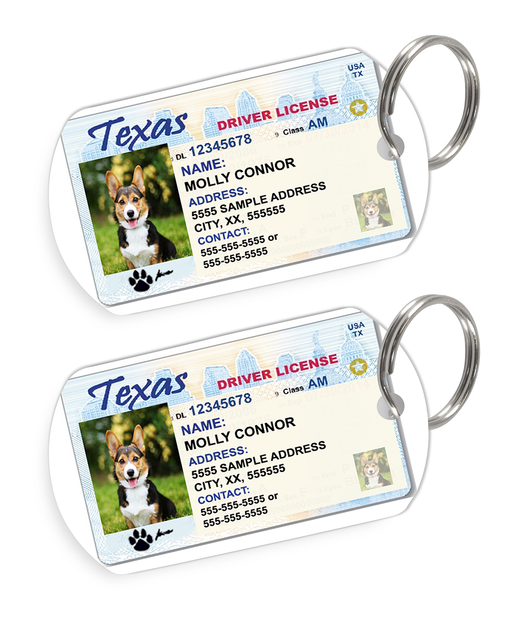 Texas Driver License Custom Pet ID Tags - Dog or Cat ID Tag - Personalized - US Company