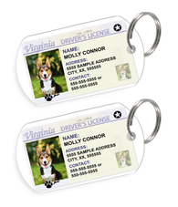 Virginia Driver License Custom Pet ID Tags - Dog or Cat ID Tag - Personalized - US Company