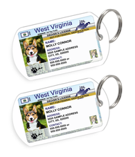 West Virginia Driver License Custom Pet ID Tags - Dog or Cat ID Tag - Personalized - US Company