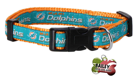 Miami Dolphins Football Pet Dog or Cat Collar with FREE Personalized ID Dog Tag with Name & Number [Multiple Collar Sizes Avl: S,M,L] | ElitePetFan.com