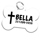 Cross Jesus Christ Dog Tag for Pets Personalized Custom Pet Tag with Pets Name & Contact Number [Multiple Font Choices - Disney Themed Font Available] | ElitePetFan.com