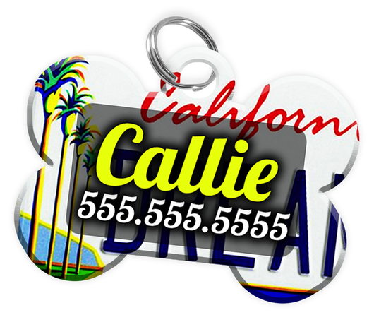 California - Dog Tag for Pets Vintage License Plate Personalized Custom Pet Tag with Pets Name & Contact Number [Multiple Font Choices] [USA COMPANY] | ElitePetFan.com