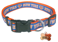 New York Knicks Basketball Dog or Cat Collar with FREE Personalized Dog Tag for Pets with Name & Number [Multiple Collar Sizes Avl: S,M,L]