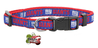 New York Giants Football Pet Dog or Cat Collar with FREE Personalized ID Dog Tag with Name & Number [Multiple Collar Sizes Avl: S,M,L] | ElitePetFan.com