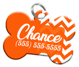 Chevron (Orange) Dog Tag for Pets Personalized Custom Pet Tag with Pets Name & Contact Number [Multiple Font Choices] [USA COMPANY]