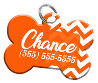 Chevron (Orange) Dog Tag for Pets Personalized Custom Pet Tag with Pets Name & Contact Number [Multiple Font Choices] [USA COMPANY] - EliteFanCo