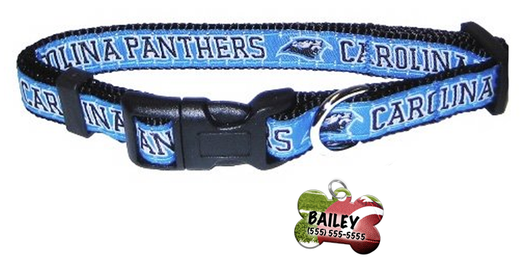 Carolina Panthers Football Pet Dog or Cat Collar with FREE Personalized ID Dog Tag with Name & Number [Multiple Collar Sizes Avl: S,M,L] - EliteFanCo