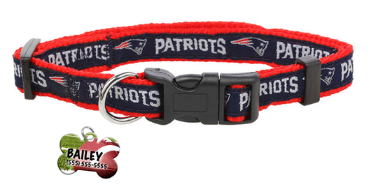 New England Patriots Pet Dog or Cat Collar with FREE Personalized ID Dog Tag with Name & Number [Multiple Collar Sizes Avl: S,M,L]