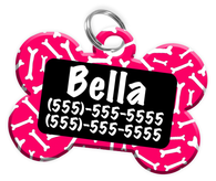 Dog Bone Pattern (Hot Pink) Dog Tag for Pets Personalized Custom Pet Tag with Pets Name & Contact Number [Multiple Font Choices] [USA COMPANY] - EliteFanCo