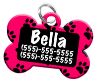 Paw Print Pattern (Hot Pink) Dog Tag for Pets Personalized Custom Pet Tag with Pets Name & Contact Number [Multiple Font Choices] [USA COMPANY]