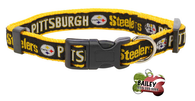 Pittsburgh Steelers Football Pet Dog or Cat Collar with FREE Personalized ID Dog Tag with Name & Number [Multiple Collar Sizes Avl: S,M,L]