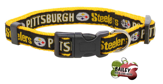 Pittsburgh Steelers Football Pet Dog or Cat Collar with FREE Personalized ID Dog Tag with Name & Number [Multiple Collar Sizes Avl: S,M,L] | ElitePetFan.com