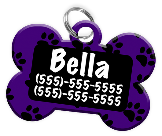 Paw Print Pattern (Purple) Dog Tag for Pets Personalized Custom Pet Tag with Pets Name & Contact Number [Multiple Font Choices] [USA COMPANY]