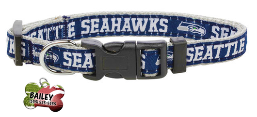 Seattle Seahawks Football Pet Dog or Cat Collar with FREE Personalized ID Dog Tag with Name & Number [Multiple Collar Sizes Avl: S,M,L] | ElitePetFan.com