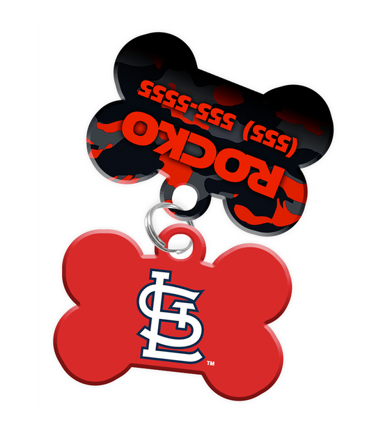 St. Louis Cardinals MLB Dog ID Tag (2 Pack) for Pet - Custom Personalization with Pets Name & Contact Number