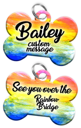 Pet Memorial Gifts (Rainbow Bridge) - Dog Tag Set (comes with 2 tags) personalized custom pet tags to honor an old friend (USA Company) | ElitePetFan.com
