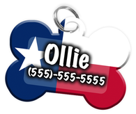 Texas Flag - Dog Tag for Pets Personalized Custom Pet Tag with Pets Name & Contact Number [Multiple Font Choices] [USA COMPANY]