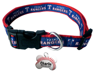 Texas Rangers Baseball Dog or Cat Collar with FREE Personalized Dog Tag for Pets with Name & Number [Multiple Collar Sizes Avl: S,M,L]