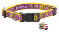 Minnesota Vikings Football Pet Dog or Cat Collar with FREE Personalized ID Dog Tag with Name & Number [Multiple Collar Sizes Avl: S,M,L]