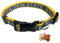 Golden State Warriors Basketball Dog or Cat Collar with FREE Personalized Dog Tag for Pets with Name & Number [Multiple Collar Sizes Avl: S,M,L] - EliteFanCo