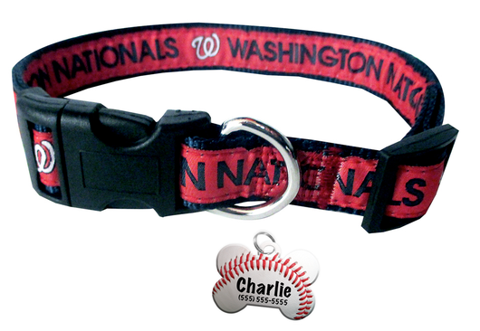 Washington Nationals Baseball Dog or Cat Collar with FREE Personalized Dog Tag for Pets with Name & Number [Multiple Collar Sizes Avl: S,M,L]