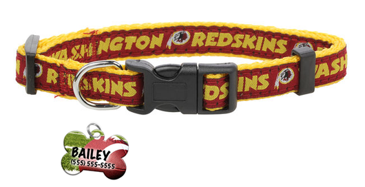 Washington Redskins Football Pet Dog or Cat Collar with FREE Personalized ID Dog Tag with Name & Number [Multiple Collar Sizes Avl: S,M,L]