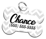 Chevron (White) Dog Tag for Pets Personalized Custom Pet Tag with Pets Name & Contact Number [Multiple Font Choices] [USA COMPANY]
