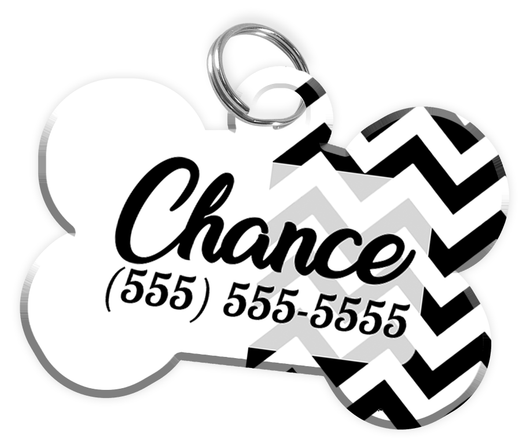 Chevron (White) Dog Tag for Pets Personalized Custom Pet Tag with Pets Name & Contact Number [Multiple Font Choices] [USA COMPANY] - EliteFanCo