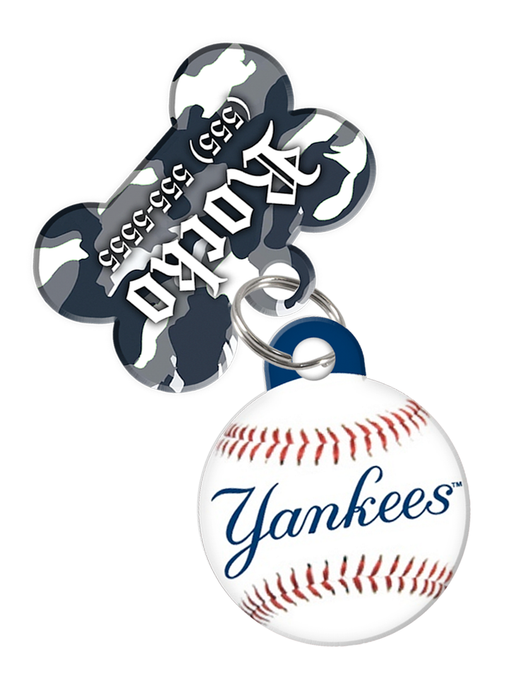 New York Yankees MLB Dog ID Tag (2 Pack) for Pet - Custom Personalization with Pets Name & Contact Number [Multiple Font Choices]