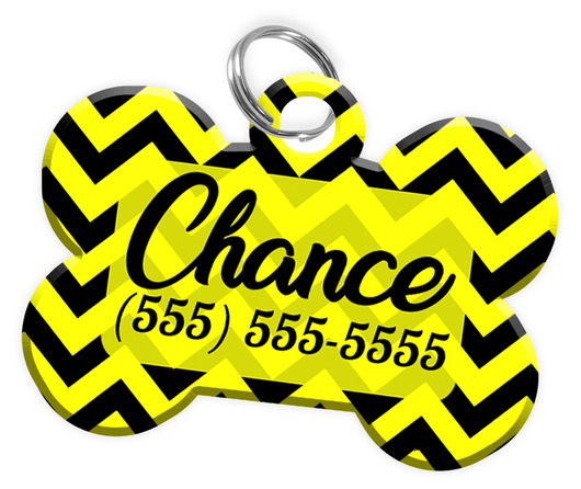 Chevron (Yellow) Dog Tag for Pets Personalized Custom Pet Tag with Pets Name & Contact Number [Multiple Font Choices] [USA COMPANY] | ElitePetFan.com
