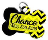 Chevron (Yellow) Dog Tag for Pets Personalized Custom Pet Tag with Pets Name & Contact Number [Multiple Font Choices] [USA COMPANY] - EliteFanCo
