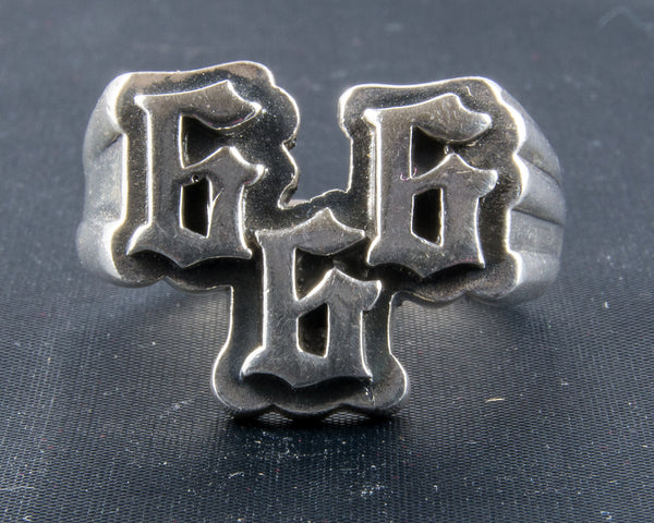 """666"" Stamped Italics Silver Ring"