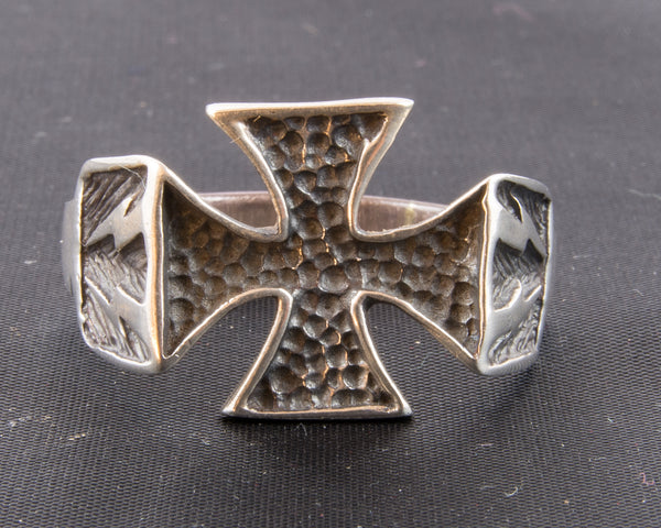 Maltese Cross with Hammered Metal