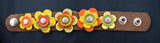 Orange Leather Flower Wrist Cuff