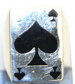 Medium Silver Ace of Spades Ring