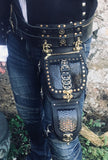 Black Python Drop Leg Double Bag