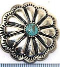 Classic Silver Concho with Turquoise Stone