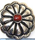 Red Coral Cabochon on Silver Concho