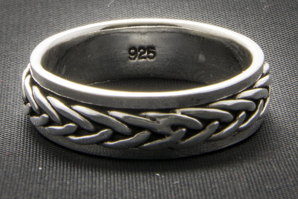 Woven Knotwork Silver Spinner Ring