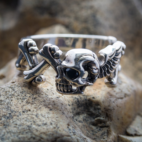 Winged Skull & Crossbones Ring