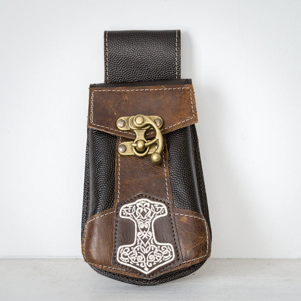 Thor's Hammer Phone Pouch - Brown