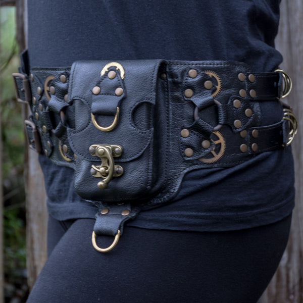 Steampunk Double Strap Belt - Black (also available in Brown)