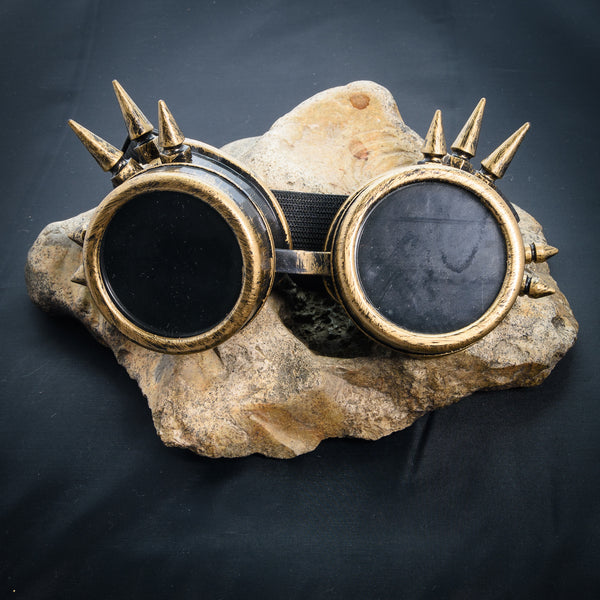 Spiked Cyber Goggles - Bronze Effect