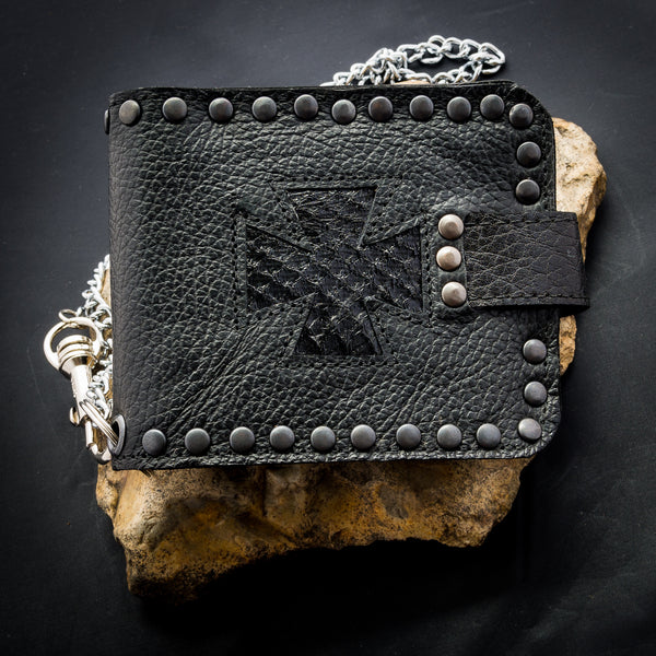 Iron Cross Wallet - Black Snakeskin