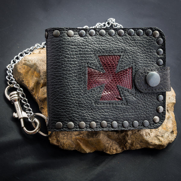 Iron Cross Wallet - Deep Red Snakeskin