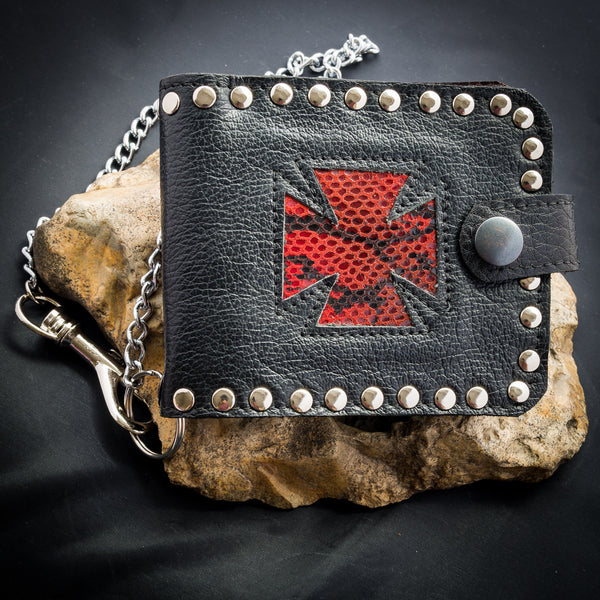 Iron Cross Wallet - Red Snakeskin