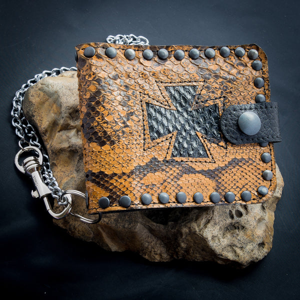 Iron Cross Wallet - Antique African Python